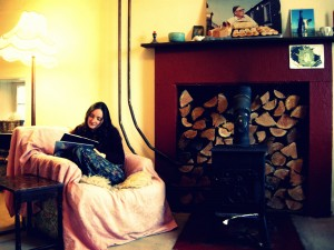 reading in the lounge